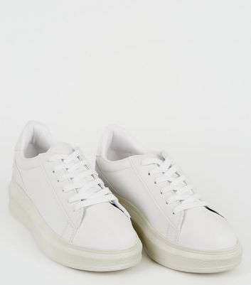 White Leather-Look Lace Up Chunky