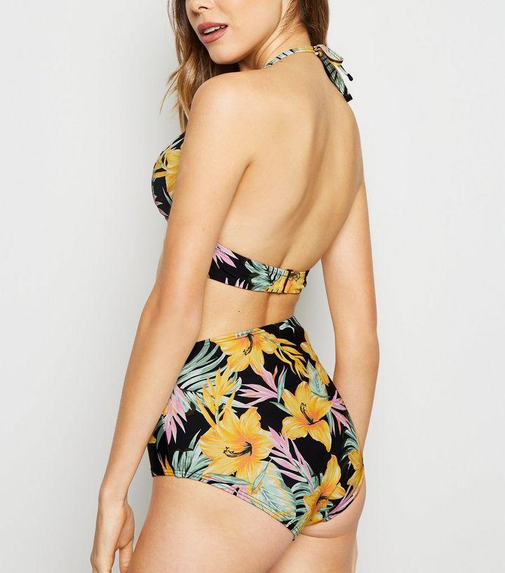 2383d3a273 ... Black Tropical Print High Waist Bikini Bottoms. ×. ×. ×. Shop the look