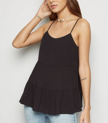 Black Textured Tiered Cami