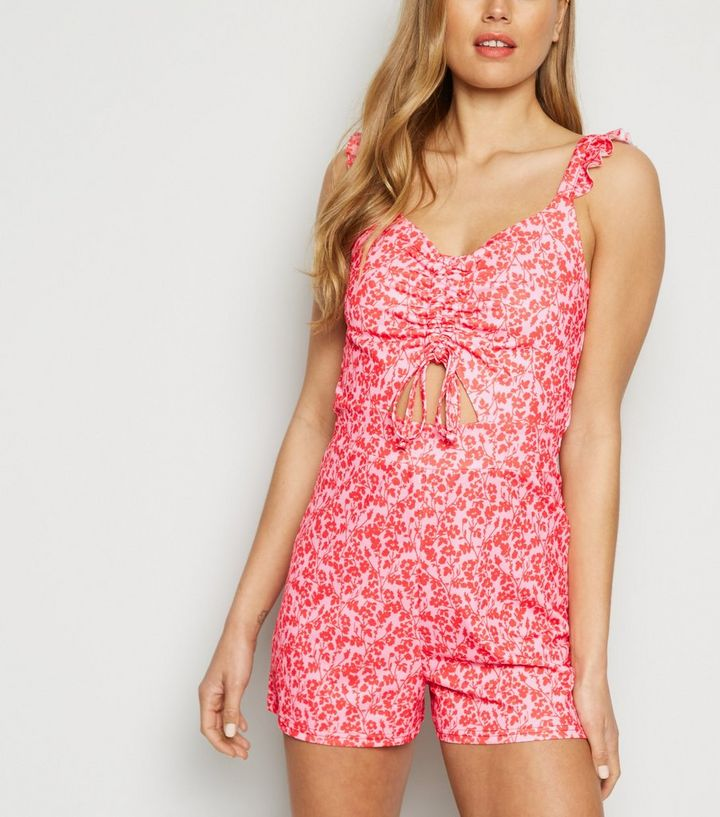 99eeea8b94c Cameo Rose Pink Ditsy Floral Ruched Playsuit