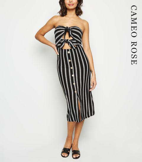 9110cbd2b82c ... Cameo Rose Black Stripe Tie Front Midi Dress ...