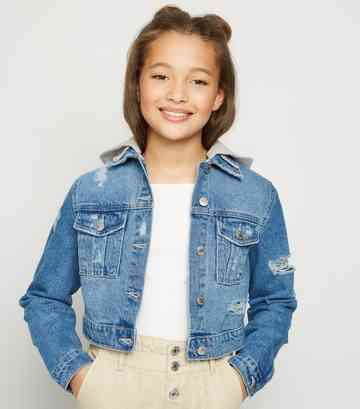 Girls Pale Blue Ripped Denim Hooded Jacket