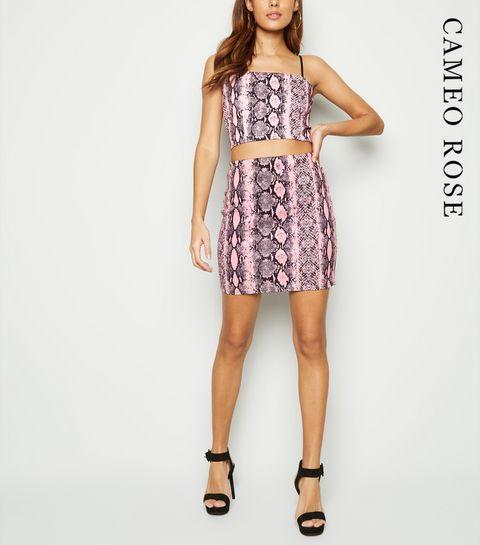 ddae8ea9bc7d ... Cameo Rose Pink Snake Print Mini Skirt ...