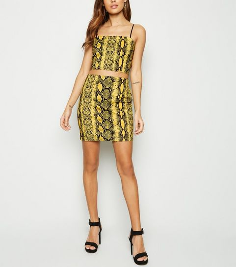 87203838171 ... Cameo Rose Yellow Snake Print Mini Skirt ...