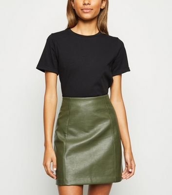Khaki Leather-Look Mini Skirt