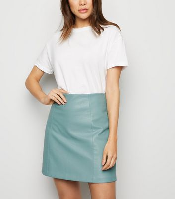 Mint Green Leather-Look Mini Skirt