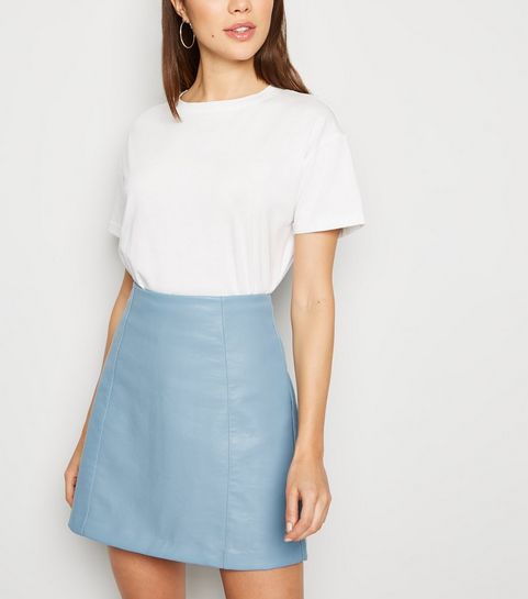 081c057f85 ... Bright Blue Leather-Look Mini Skirt ...