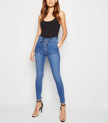 Cameo Rose Blue Denim Paperbag Skinny Jeans