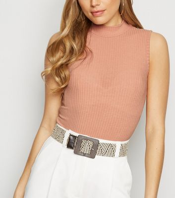 Pale Pink Ribbed Sleeveless Turtleneck Bodysuit
