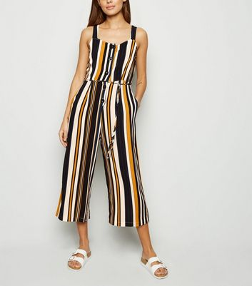 AX Paris Blue Stripe Button Front Jumpsuit