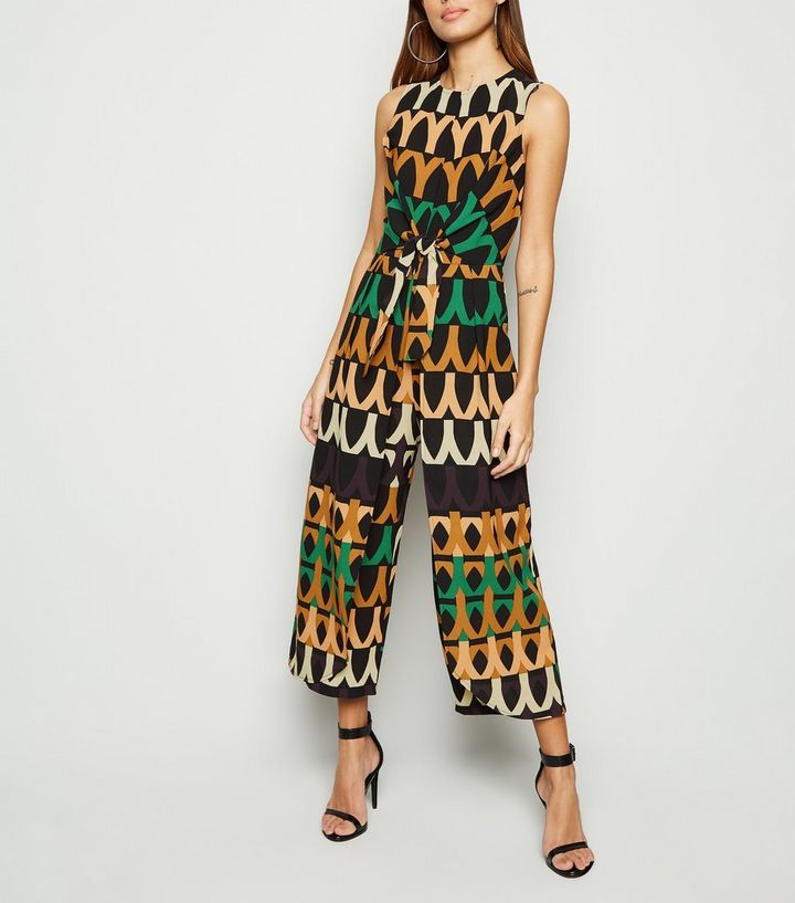b6dd074c7b0591 AX Paris Black Abstract Tie Front Culotte Jumpsuit | New Look
