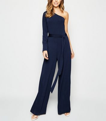 AX Paris Navy One Shoulder Jumpsuit