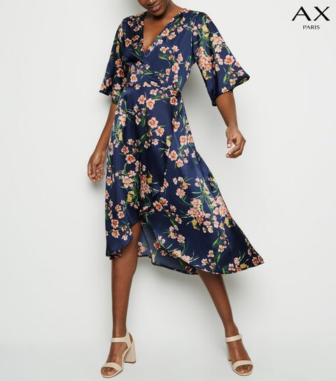 9f7f95aad999 ... AX Paris Blue Floral 1 2 Sleeve Midi Dress ...