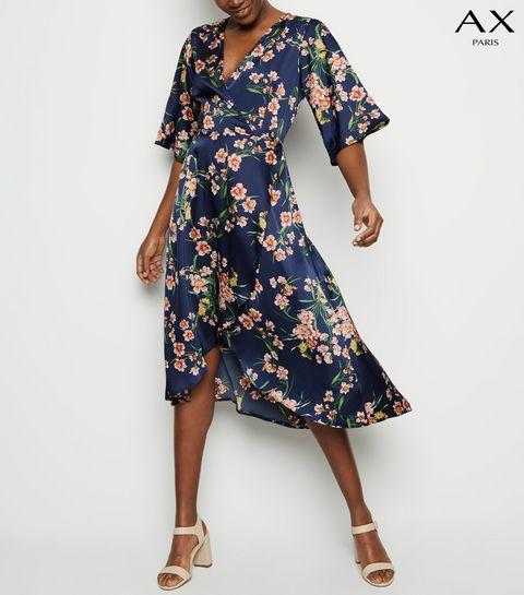 c34922ca3094 ... AX Paris Blue Floral 1 2 Sleeve Midi Dress ...