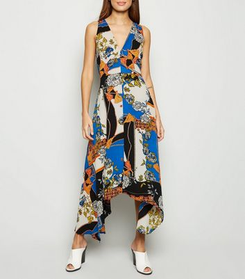 AX Paris Blue Scarf Print Midi Dress