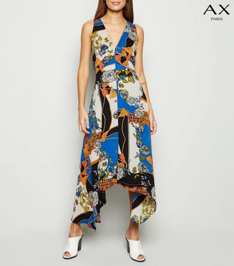 5b391874a06c ... AX Paris Blue Scarf Print Midi Dress ...