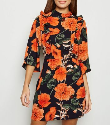 AX Paris Black Floral Ruffle Trim Dress