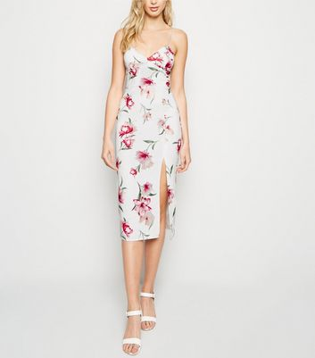 White Floral Bustier Midi Bodycon Dress