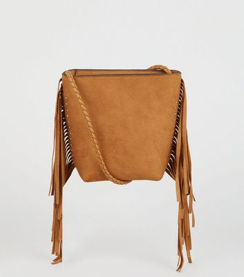 Tan Suedette Fringe Mini Bucket Bag