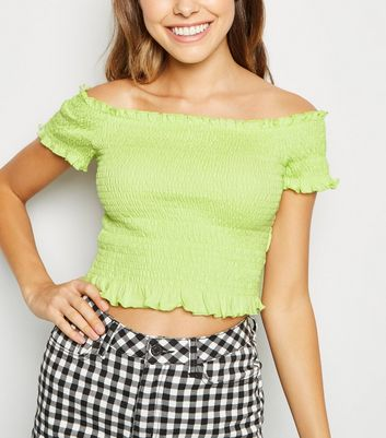 Light Green Shirred Frill Trim Bardot Top