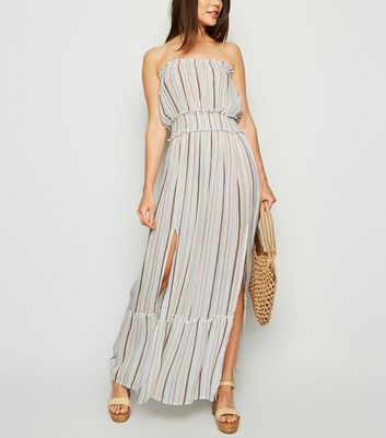 Cream Multi Stripe Beach Dress