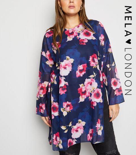 338b4ba740e25f ... Mela Curves Blue Floral Tunic Top ...
