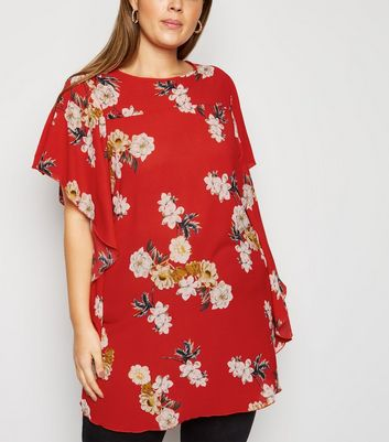Mela Curves Red Floral Waterfall Sleeve Blouse