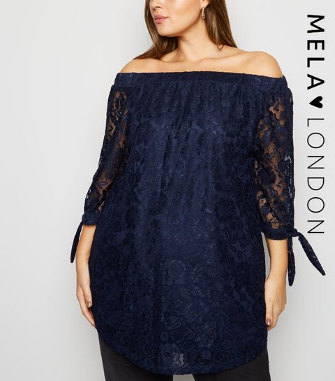 e25e6984c65a8 ... Mela Curves Navy Lace Tie Sleeve Bardot Top ...