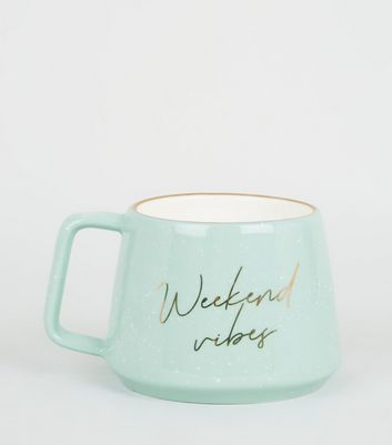 Green Weekend Vibes Slogan Mug