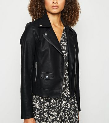 Tall Black Leather-Look Biker Jacket