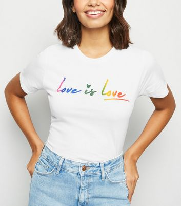 White Love Is Love Rainbow Slogan T-Shirt