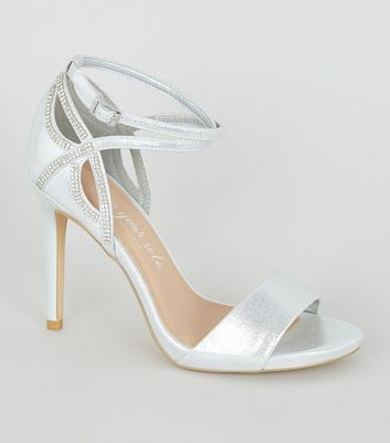 Wide Fit Silver Shimmer Diamanté Strap Stilettos