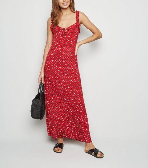 0d1016d4e0f ... Red Ditsy Print Frill Trim Maxi Dress ...