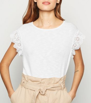 White Broderie Sleeve T-Shirt