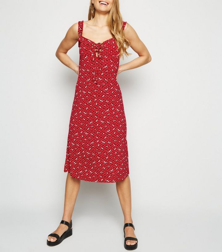 52c5f79cf1a Red Ditsy Floral Lace Up Jersey Midi Dress