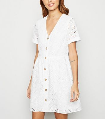 White Broderie Button Up Smock Dress