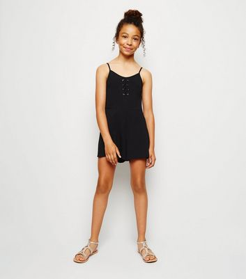 Girls Black Lattice Front Playsuit