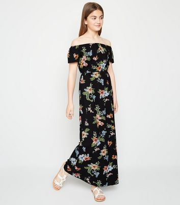 Girls Black Floral Bardot Maxi Dress