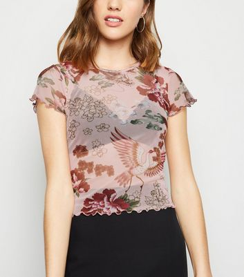 Pink Floral Mesh T-Shirt