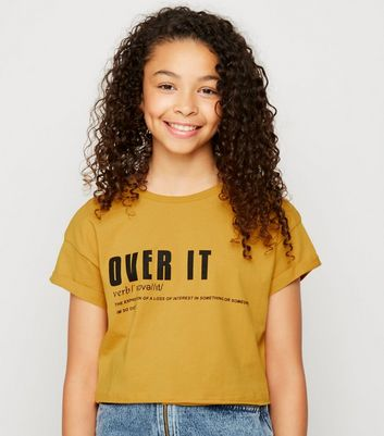 Girls Mustard Over It Definition Slogan T-Shirt