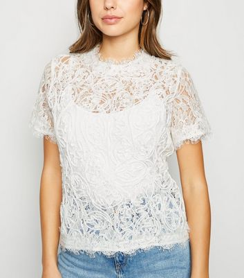 Off White Cornelli Lace Zip Back T-Shirt