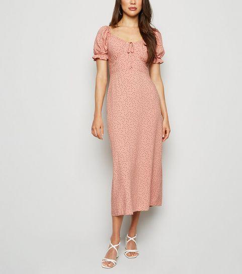 6743de6cb9 ... Pink Polka Dot Milkmaid Midi Dress ...