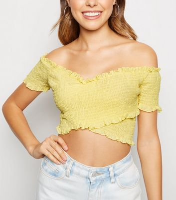 Pink Vanilla Yellow Cross Over Shirred Top