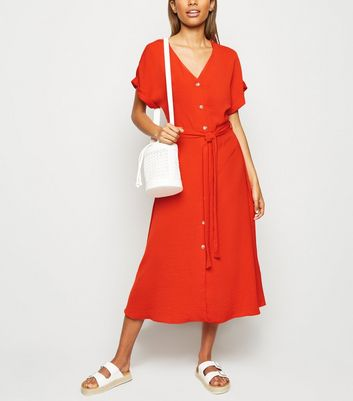 Red Herringbone Button Up Midi Dress