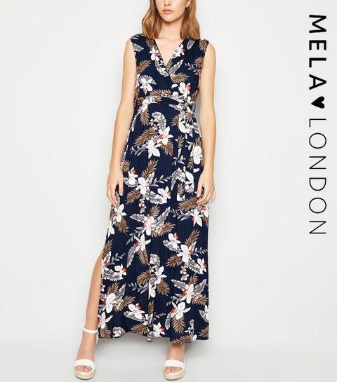 d80b579c0500c ... Mela Navy Floral Wrap Maxi Dress ...