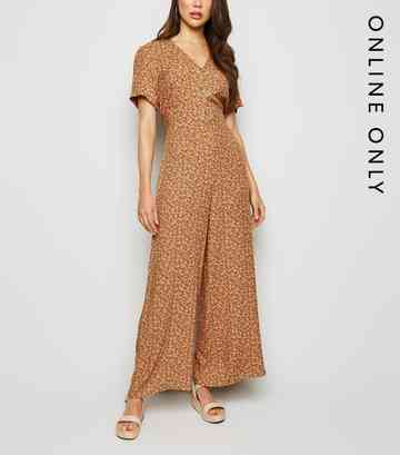 Brown Ditsy Floral Button Up Jumpsuit