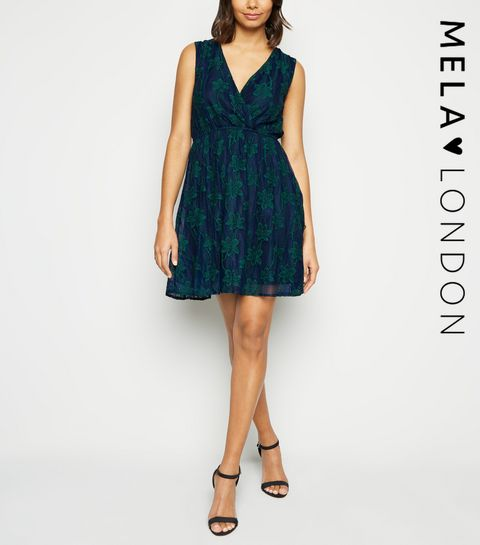 267bd47e191 ... Mela Blue Floral Lace Mini Dress ...