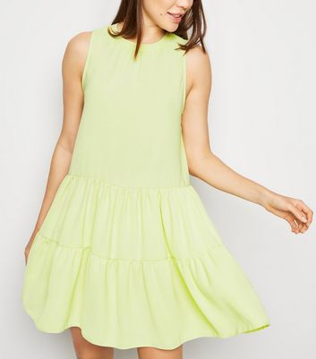 Light Green Herringbone Sleeveless Smock Dress