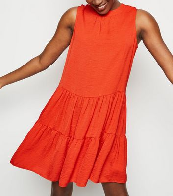 Red Herringbone Sleeveless Smock Dress