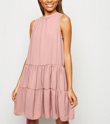 Pink Herringbone Sleeveless Smock Dress
